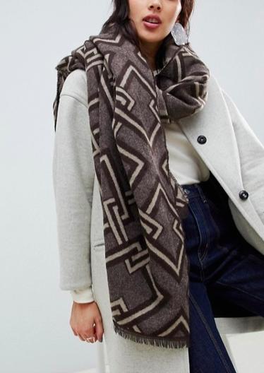 ASOS DESIGN chain jacquard woven long scarf