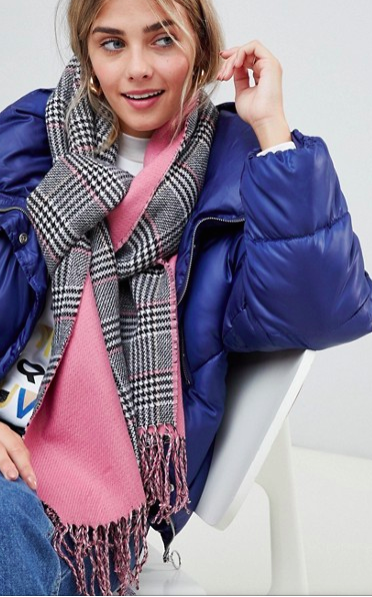 New Look Pink Check Scarf