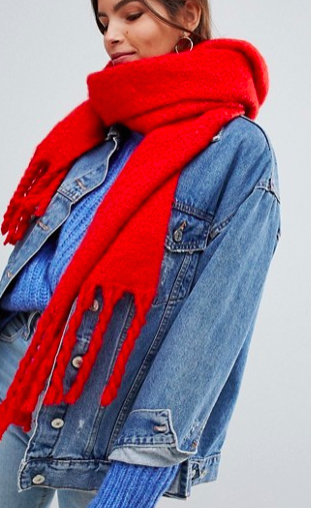 Oasis knitted scarf with tassels in orange
