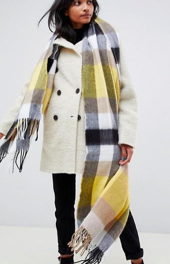 ASOS DESIGN block check scarf with yellow highlight