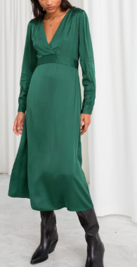 Stories Plunging Ruched Midi Dress