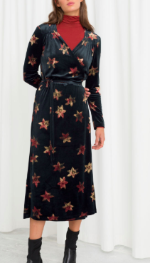 Stories Floral Velour Wrap Dress