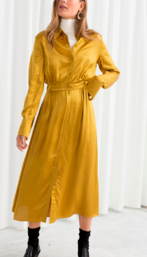 Stories Belted Satin Midi Dress