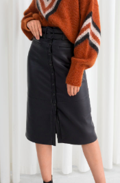Stories Belted Leather Midi Skirt