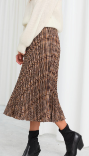 Stories Pleated Plaid Midi Skirt