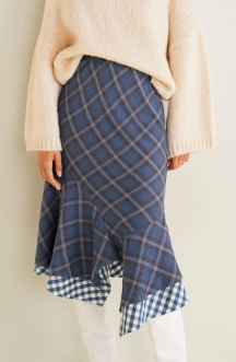 Mango Checkered asymmetric skirt