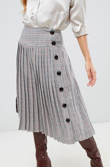 Neon Rose pleated midi skirt with button side in check