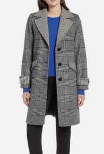 Plaid Mix Wool Coat HALOGEN®