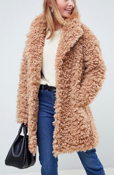 ASOS DESIGN coat in fluffy borg