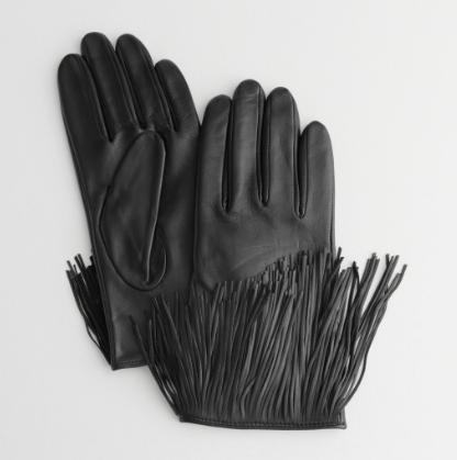 Stories Leather Fringe Gloves