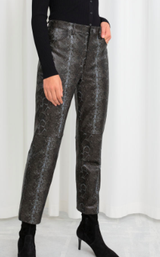 Stories Snake Embossed Leather Pants