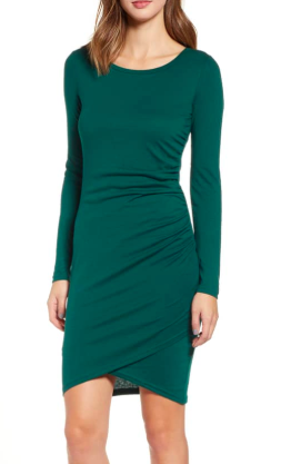 Ruched Long Sleeve Dress LEITH