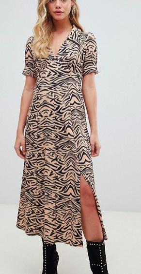 ASOS DESIGN animal print midi tea dress in rib
