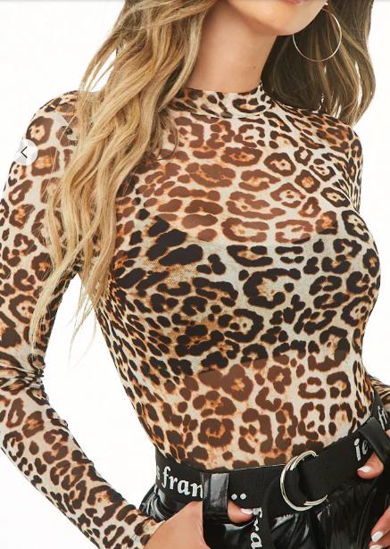 Forever 21 Sheer Leopard Print Bodysuit
