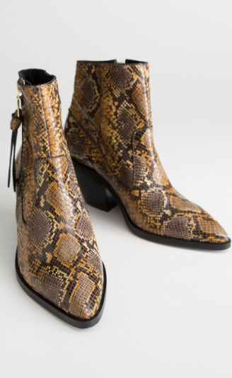 Stories Leather Cowboy Ankle Boots