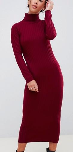 ASOS DESIGN Petite midi dress with high neck in rib