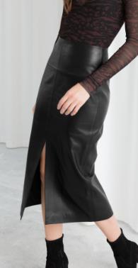 Stories Front Slit Leather Midi Skirt