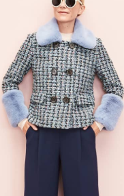 x Atlantic-Pacific Tweed Jacket with Removable Faux Fur Trim HALOGEN®