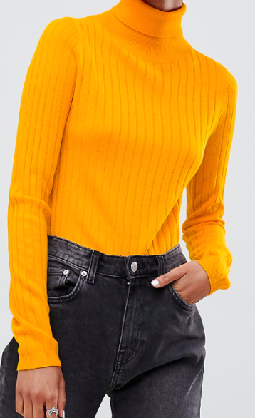 ASOS DESIGN roll neck crop sweater in rib