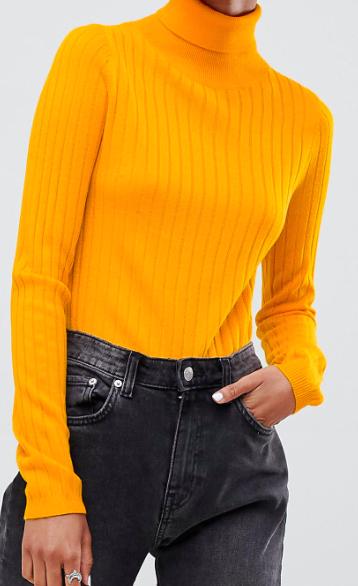 ASOS DESIGN roll neck crop sweater in rib