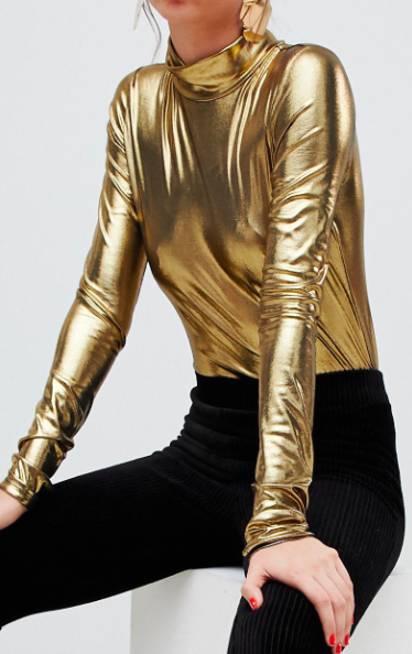 Monki roll neck jersey top in gold