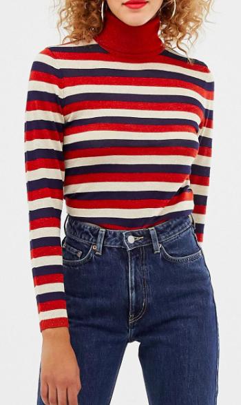 Only sheer glitter stripe roll neck sweater
