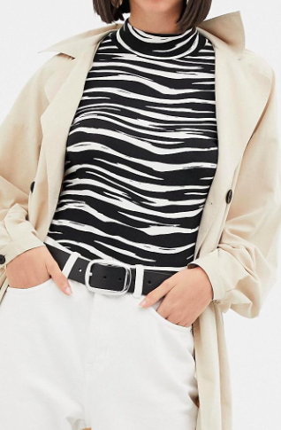 Warehouse roll neck top in zebra print