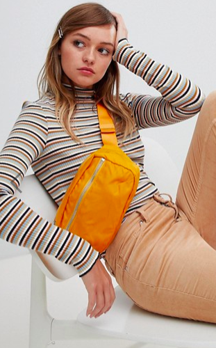 Monki turtleneck top in multi stripe