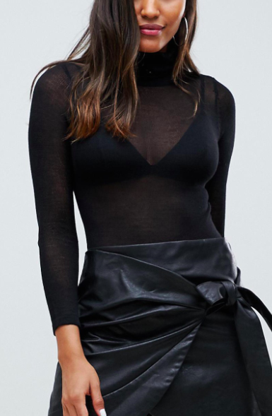 Parallel Lines sheer knit turtleneck body