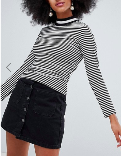 Monki contrast turtleneck top in stripe