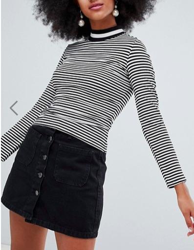 Monki contrast turtleneck top in stripe