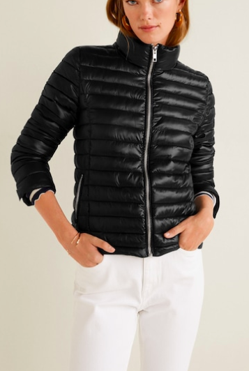 Mango Contrast liner quilted coat