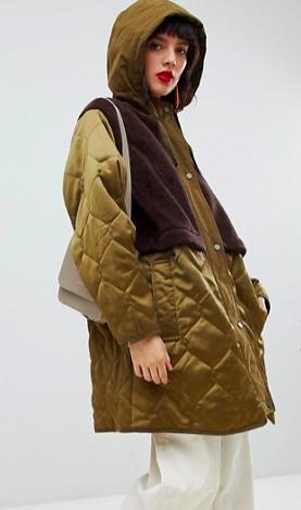 ASOS DESIGN faux fur paneled parka