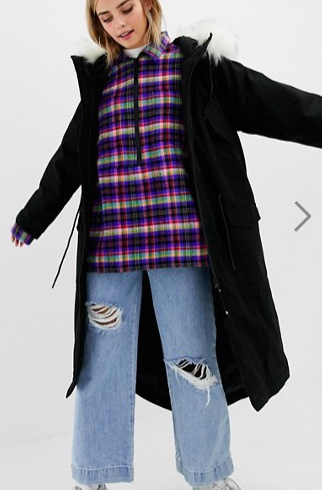 COLLUSION longline parka with removable faux fur hood