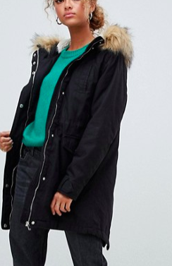 New Look Faux Fur Hood Parka