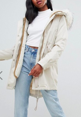 Bershka long line parka with faux fur hood