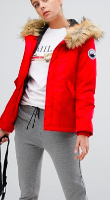 Boohoo luxe faux fur sporty parka in red
