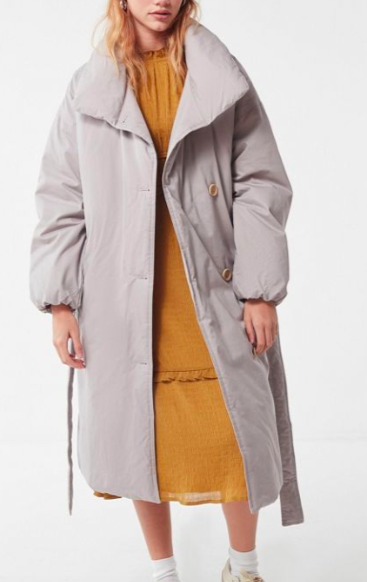 UO Belted Puffer Trench Coat