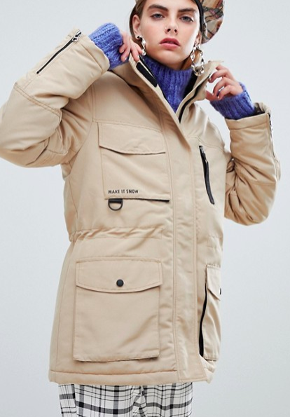 Bershka ski style parka coat