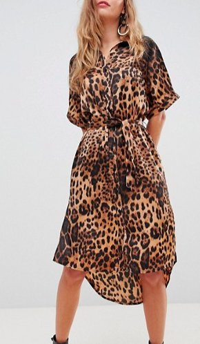 Liquorish leopard print midi shirt dress
