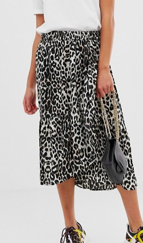 Pieces satin leopard midi skirt