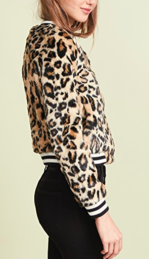 Jack by BB Dakota Clever Girl Leopard Faux Fur Bomber