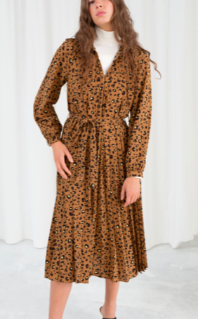 Stories Leopard Pleated Midi Dress