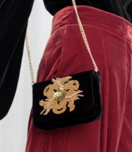 Stories Beaded Velvet Crossbody Bag