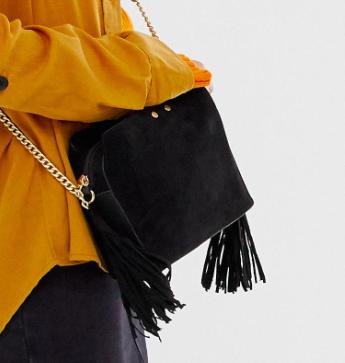 New Look side tassel bag in black