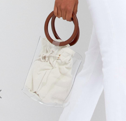 My Accessories clear plastic tote with wooden handles