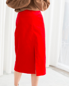Stories Front Slit Corduroy Midi Skirt