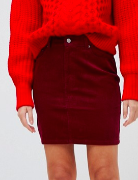 ASOS DESIGN cord original skirt in berry