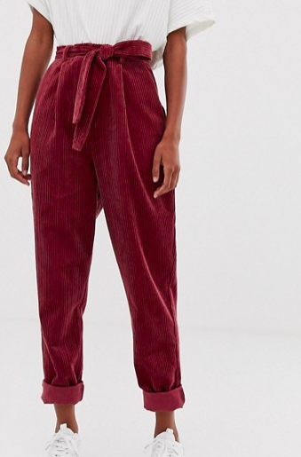 ASOS DESIGN tapered tie waist pants in jumbo cord