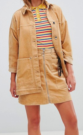 Monki cord zip up mini skirt in beige
